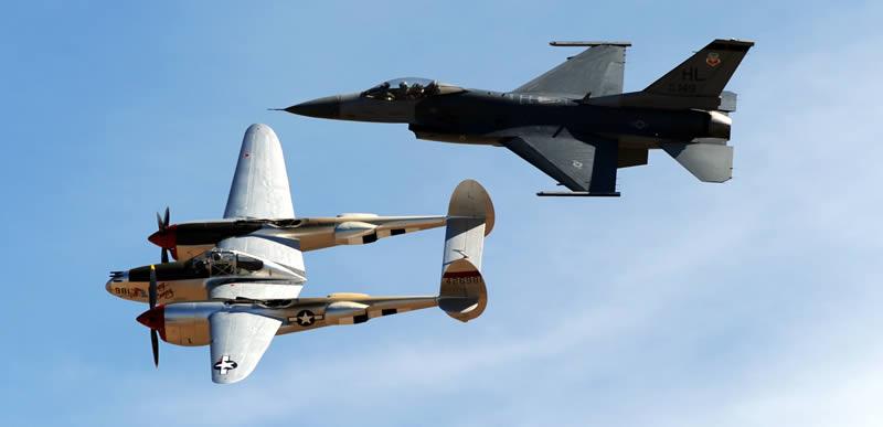 "F-16 ""Viper"" Team & P-38 Lightning - USAF Heritage"